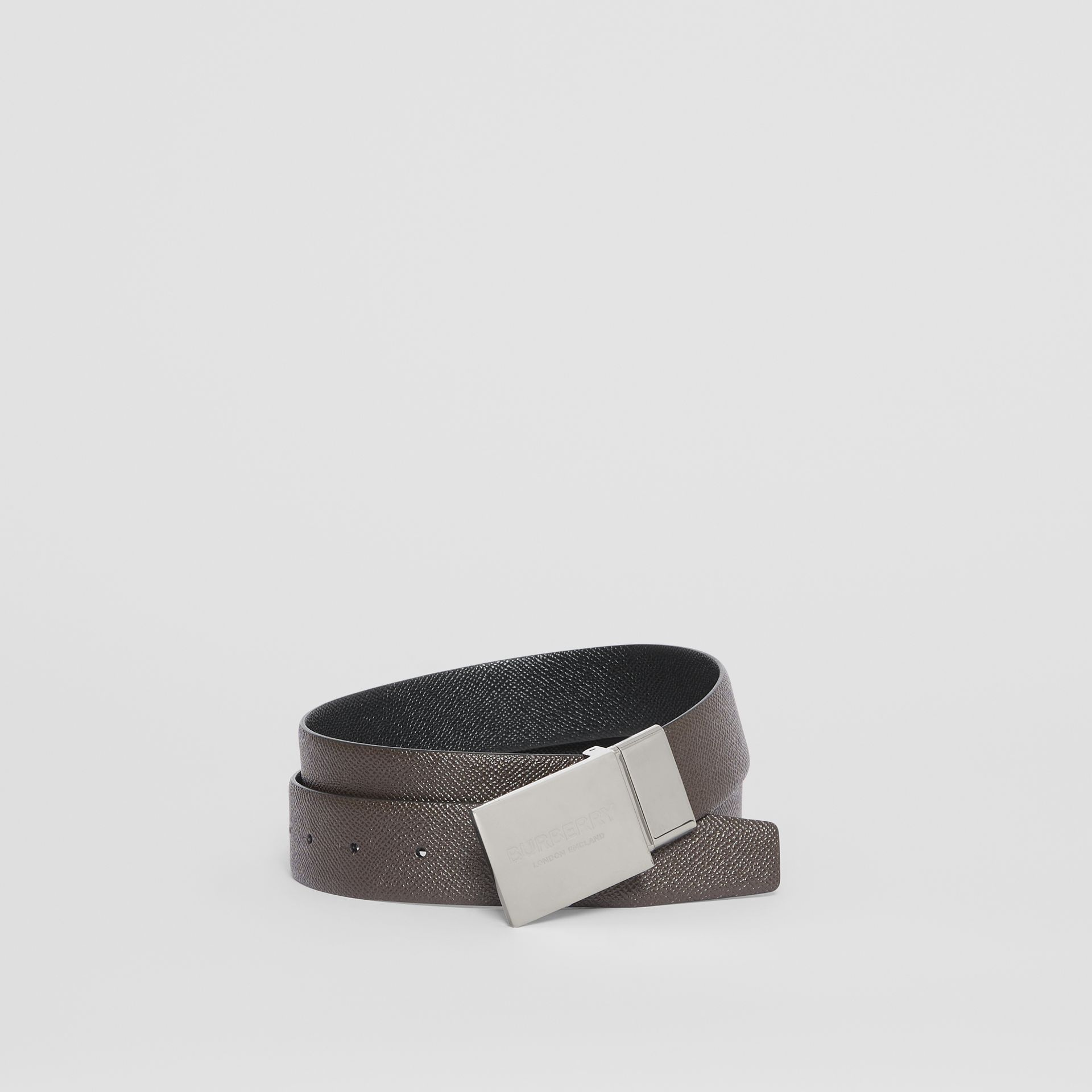Reversible Plaque Buckle Grainy Leather Belt in Chocolate/black - Men | Burberry Singapore - gallery image 0