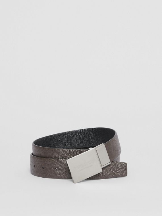 Reversible Plaque Buckle Grainy Leather Belt in Chocolate/black