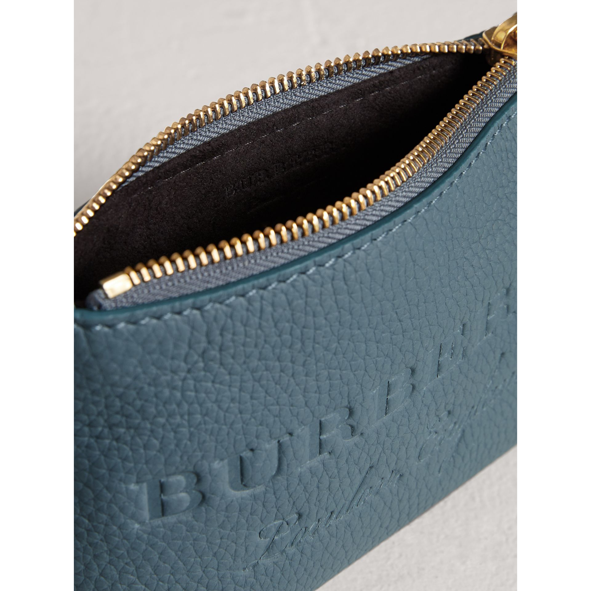 Small Embossed Leather Zip Pouch in Dusty Teal Blue | Burberry - gallery image 4