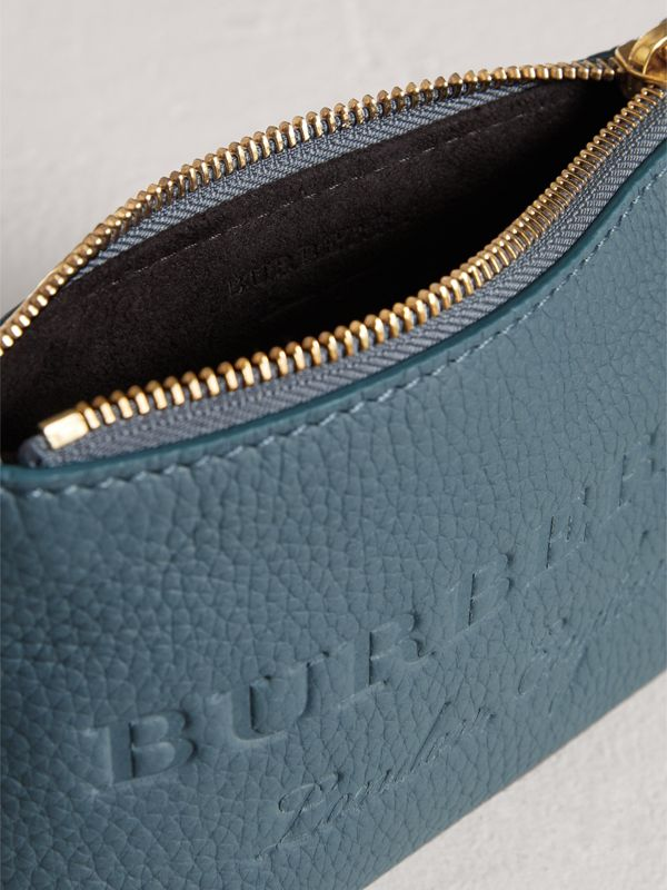 Small Embossed Leather Zip Pouch in Dusty Teal Blue | Burberry - cell image 3