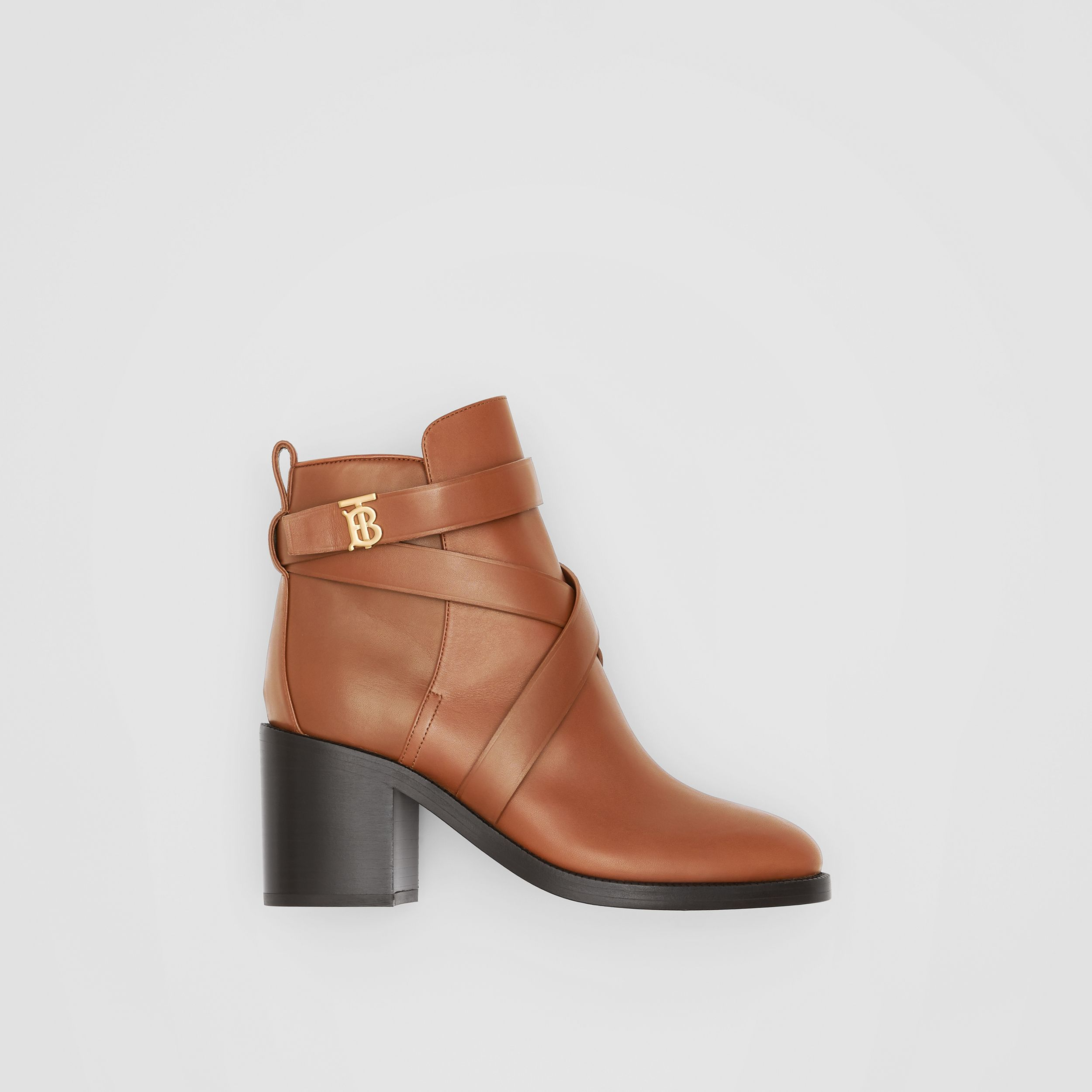 Monogram Motif Leather Ankle Boots in Tan - Women | Burberry United Kingdom - 1
