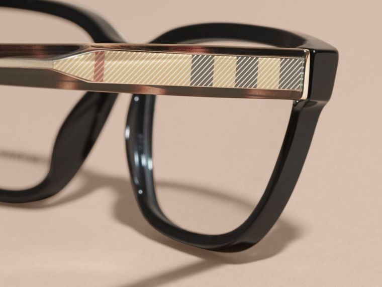 Black Check Detail Rectangular Optical Frames Black - cell image 1