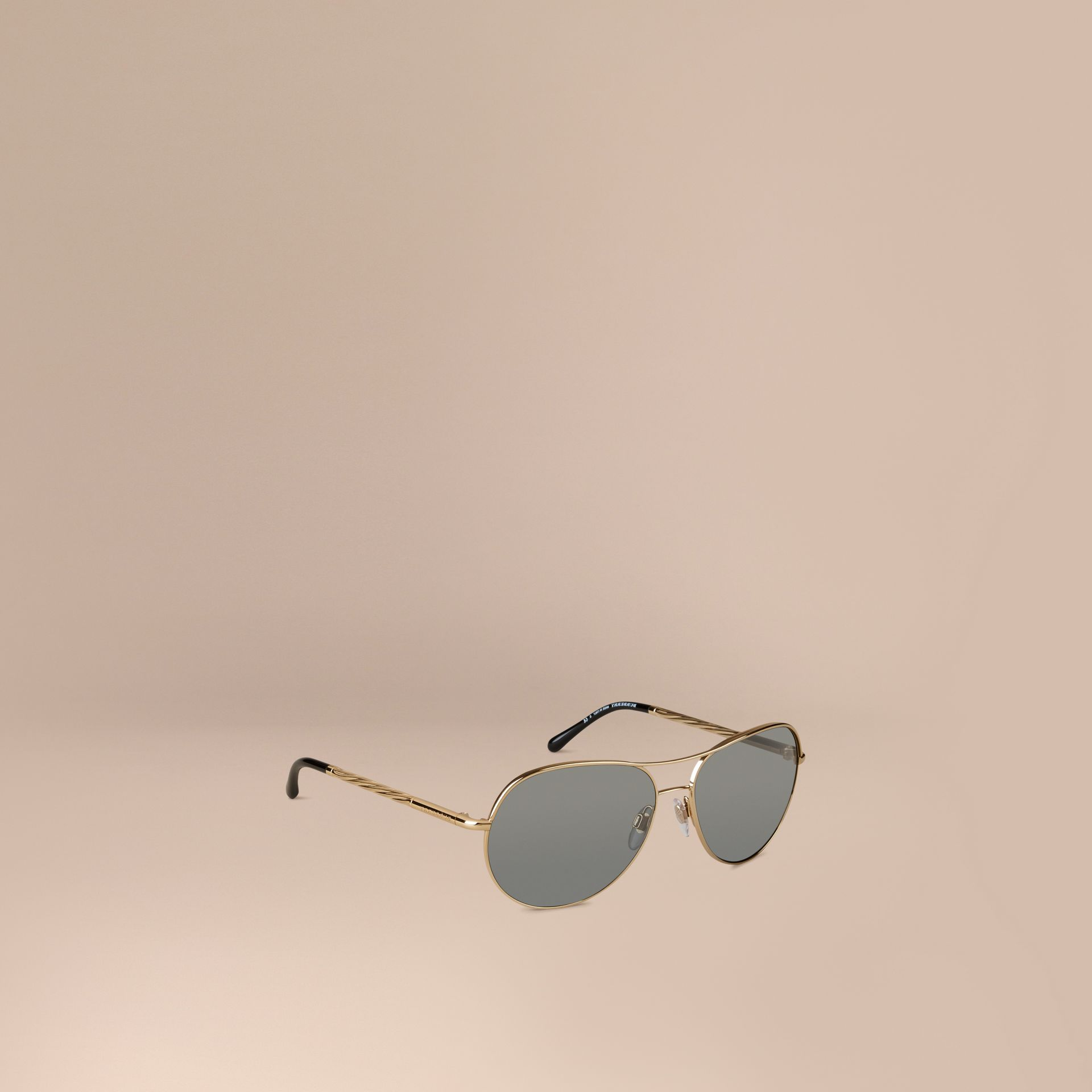 Gold Gabardine Collection Aviator Sunglasses Gold - gallery image 1