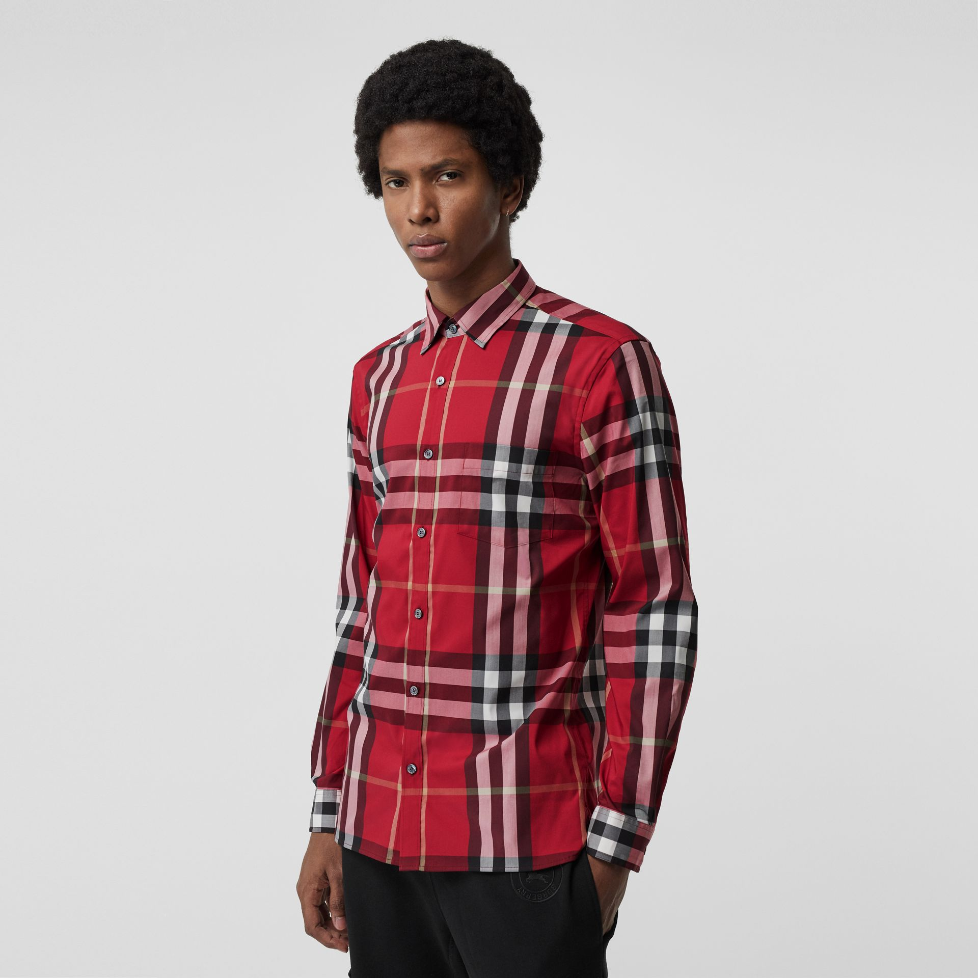 Check Stretch Cotton Shirt in Parade Red - Men | Burberry Singapore - gallery image 0