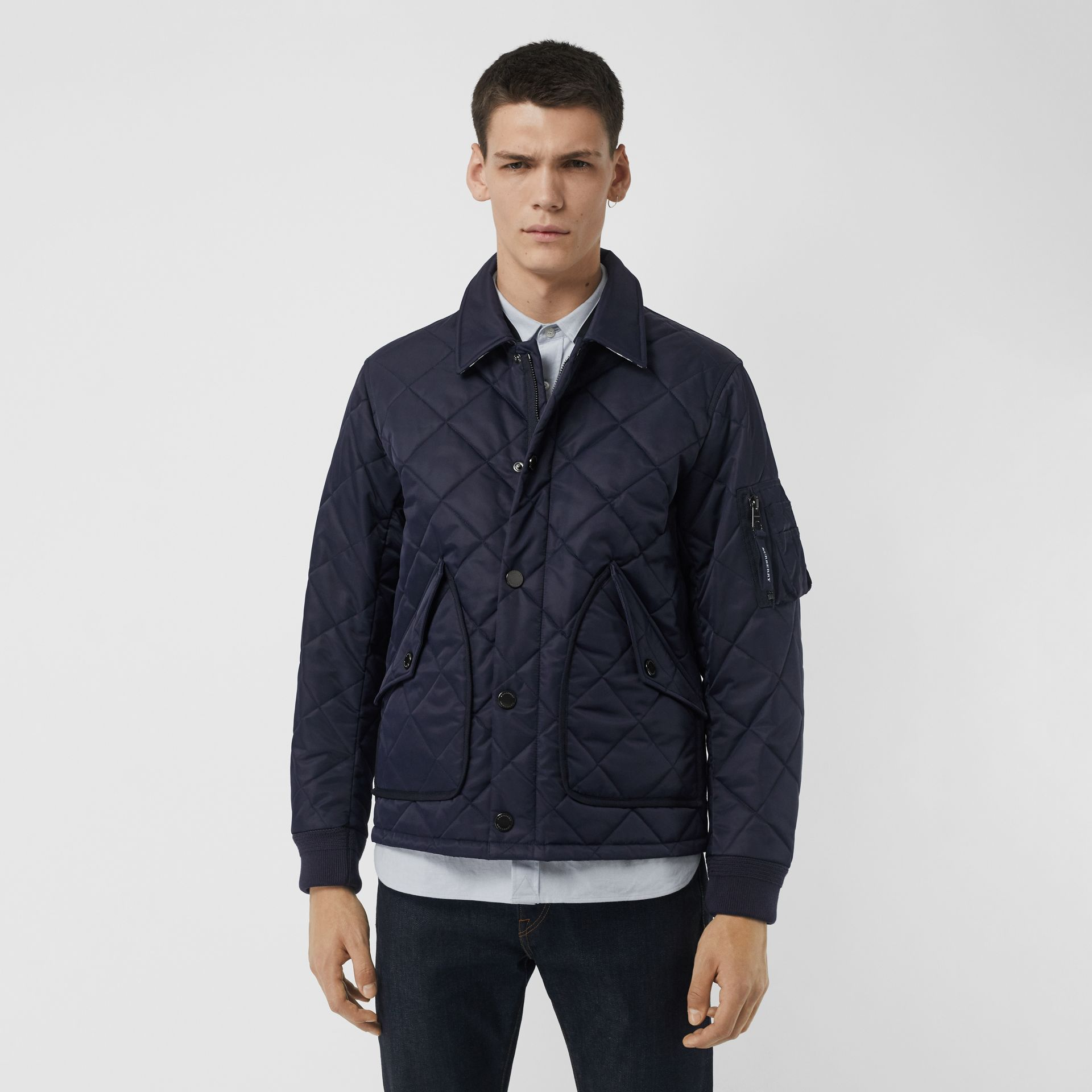 Diamond Quilted Jacket in Navy - Men | Burberry United Kingdom - gallery image 5
