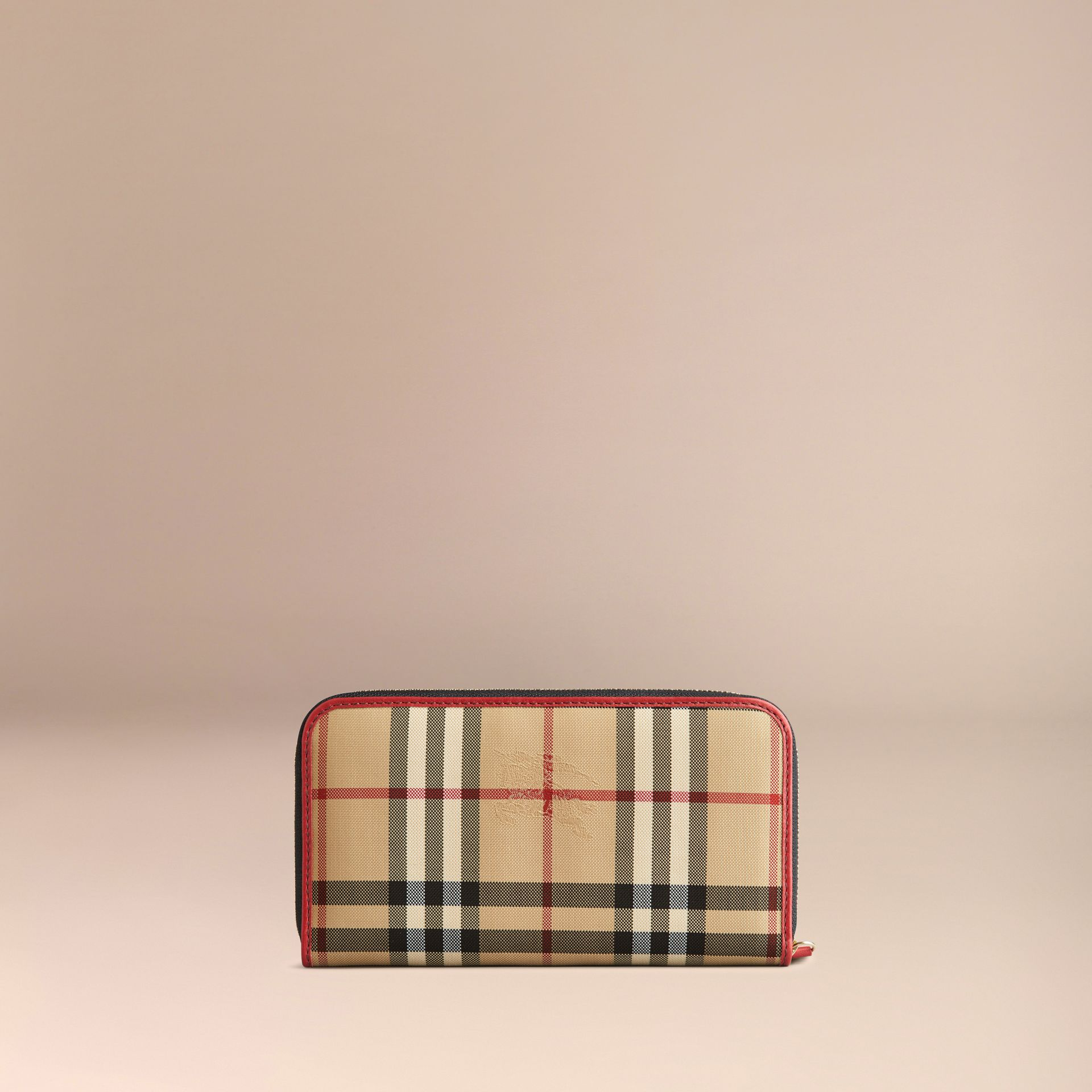 Horseferry Check and Leather Ziparound Wallet in Parade Red - Women | Burberry United Kingdom - gallery image 3