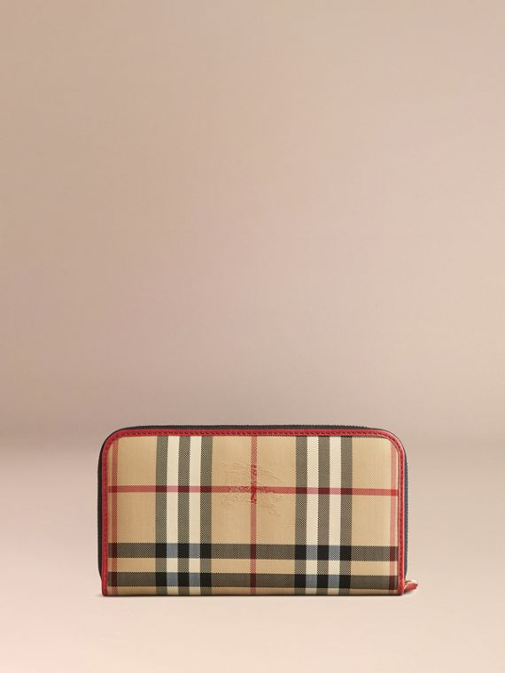 Horseferry Check and Leather Ziparound Wallet in Parade Red - Women | Burberry United Kingdom - cell image 2