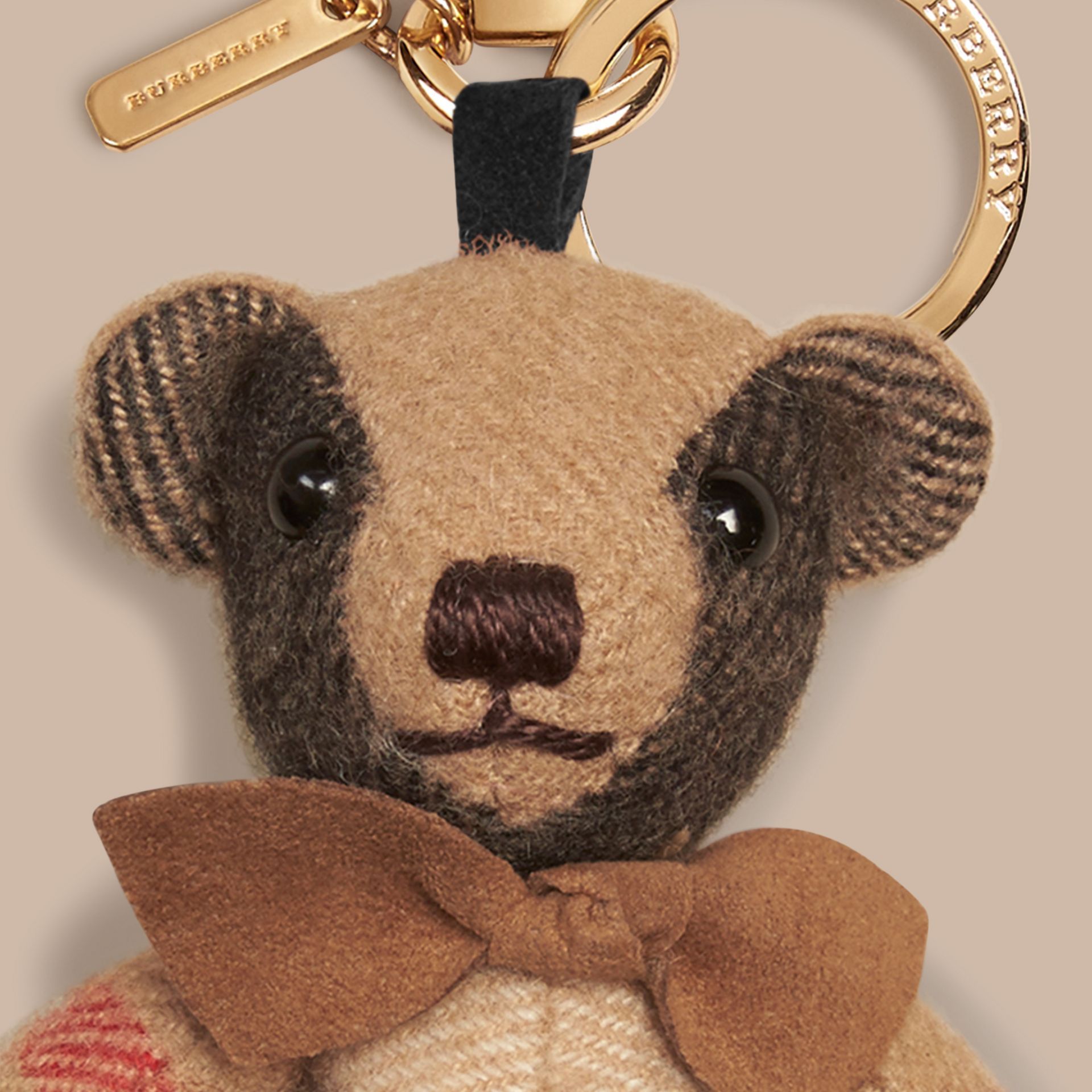 Thomas Bear Charm in Check Cashmere in Camel | Burberry - gallery image 2