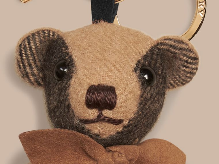 Thomas Bear Charm in Check Cashmere in Camel | Burberry - cell image 1