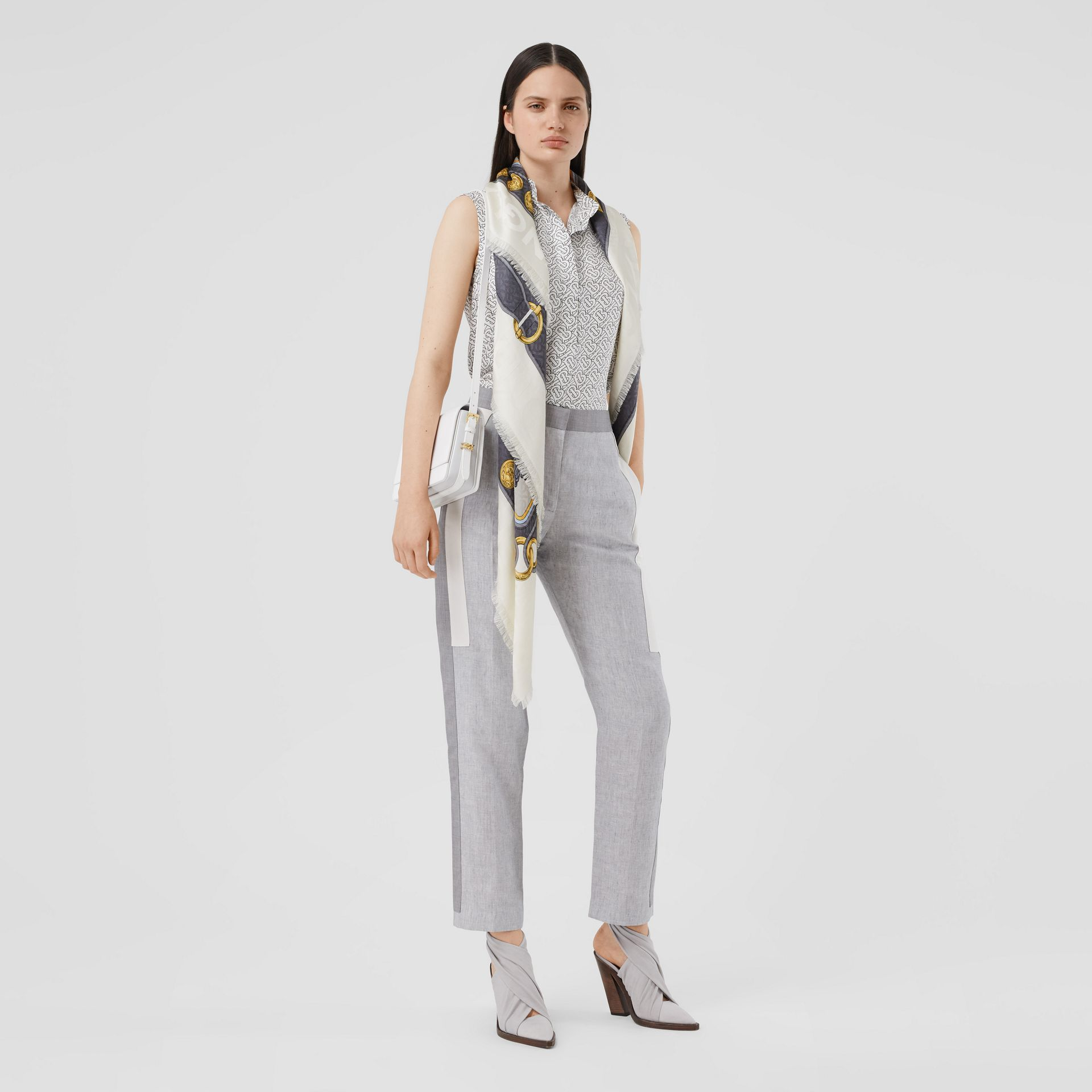 Archive Scarf Print Silk Wool Large Square Scarf in Grey | Burberry - gallery image 5
