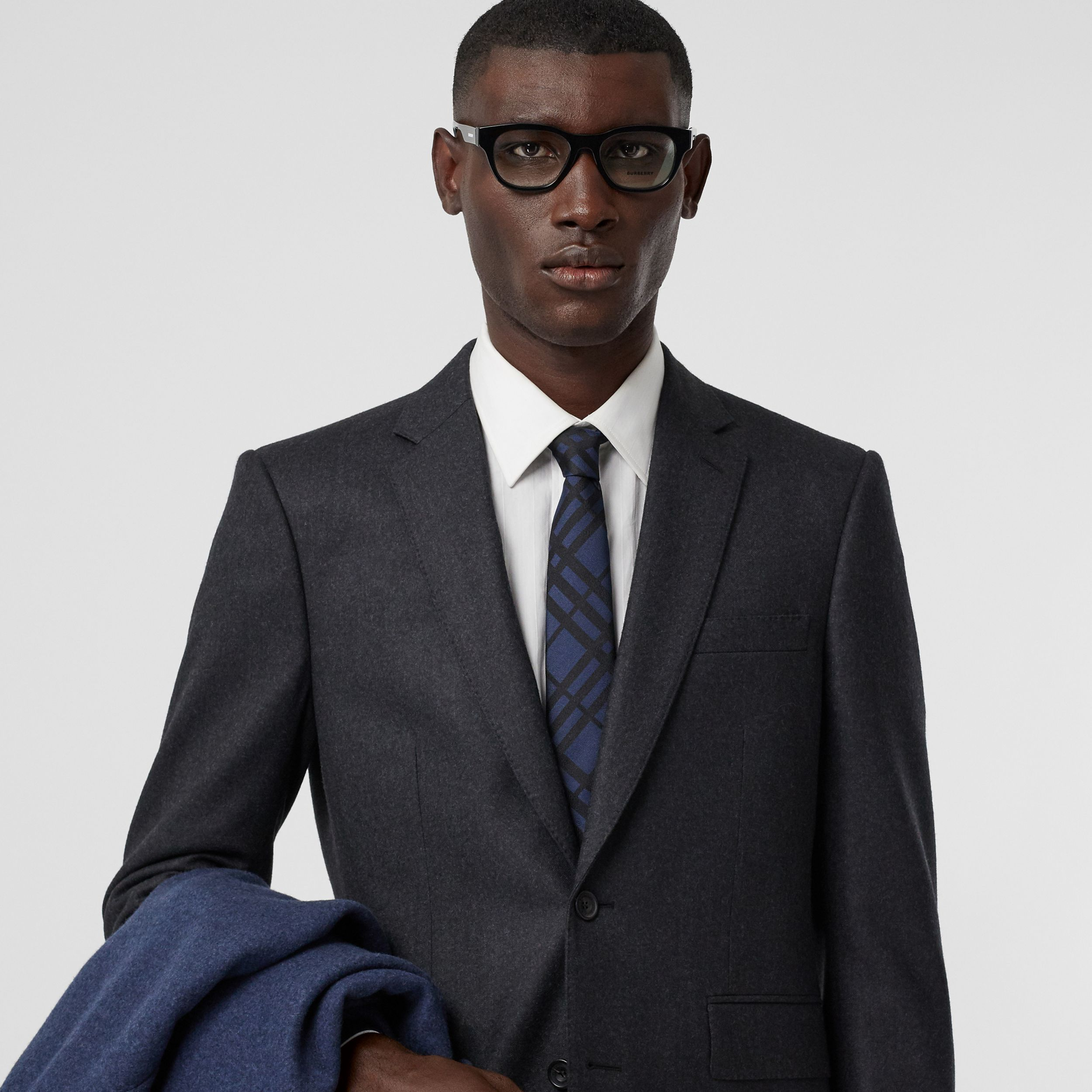 Classic Cut Check Silk Jacquard Tie in Navy - Men | Burberry - 3