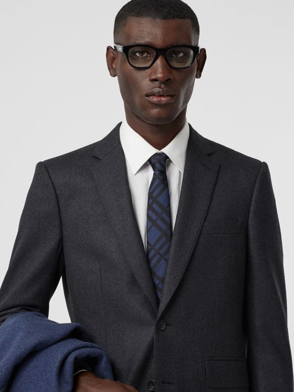 Classic Cut Check Silk Jacquard Tie in Navy - Men | Burberry Canada - cell image 2