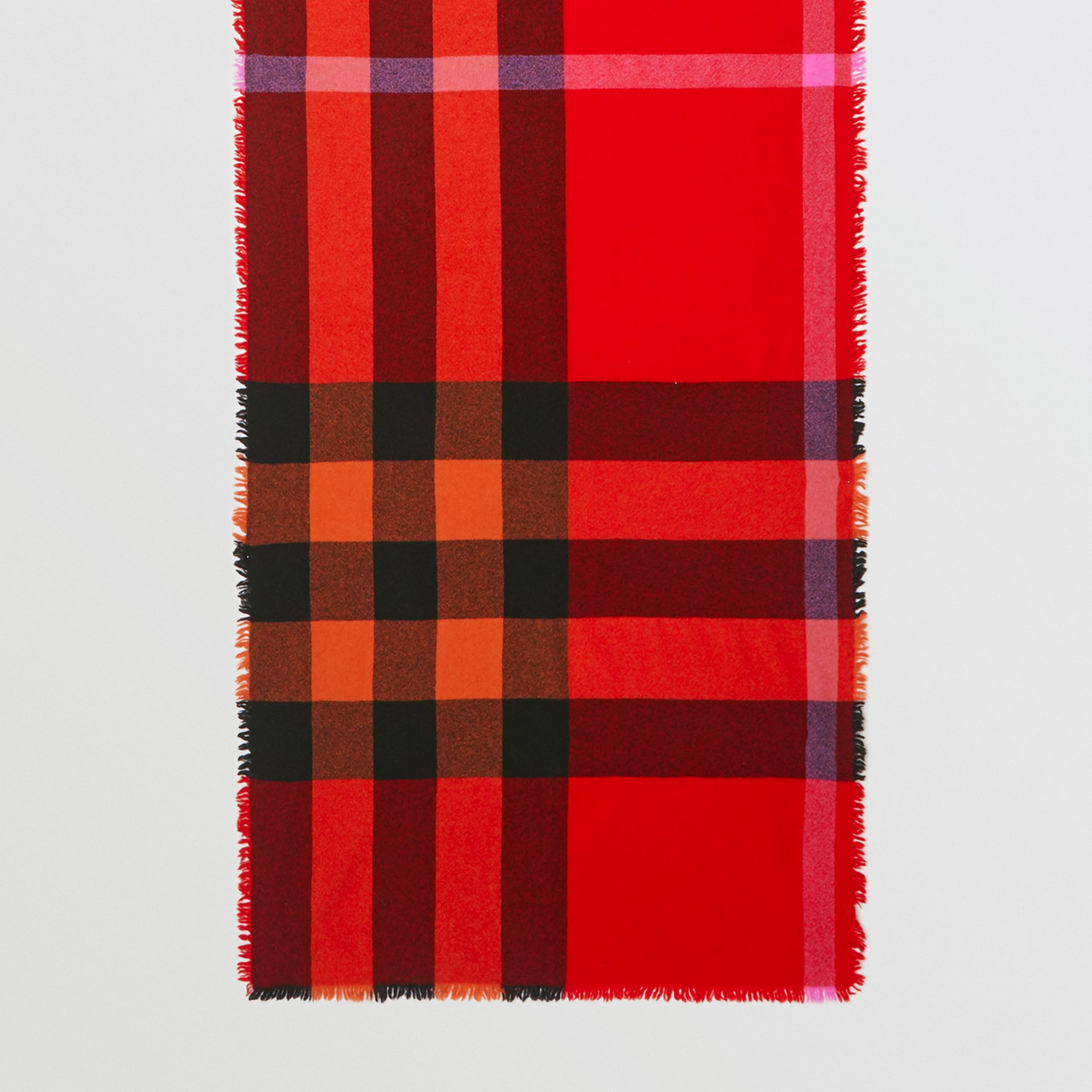 Fringed Check Wool Cashmere Scarf in Bright Orange Red | Burberry - gallery image 2
