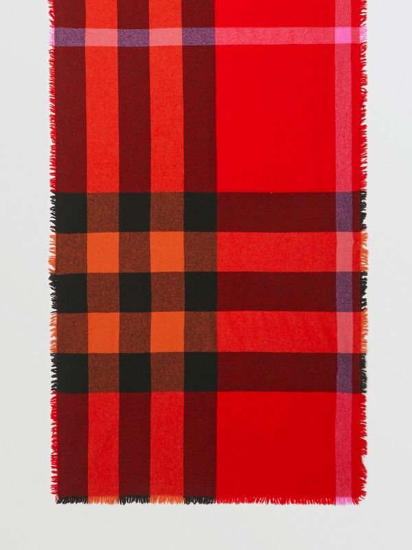 Fringed Check Wool Cashmere Scarf in Bright Orange Red | Burberry - cell image 2