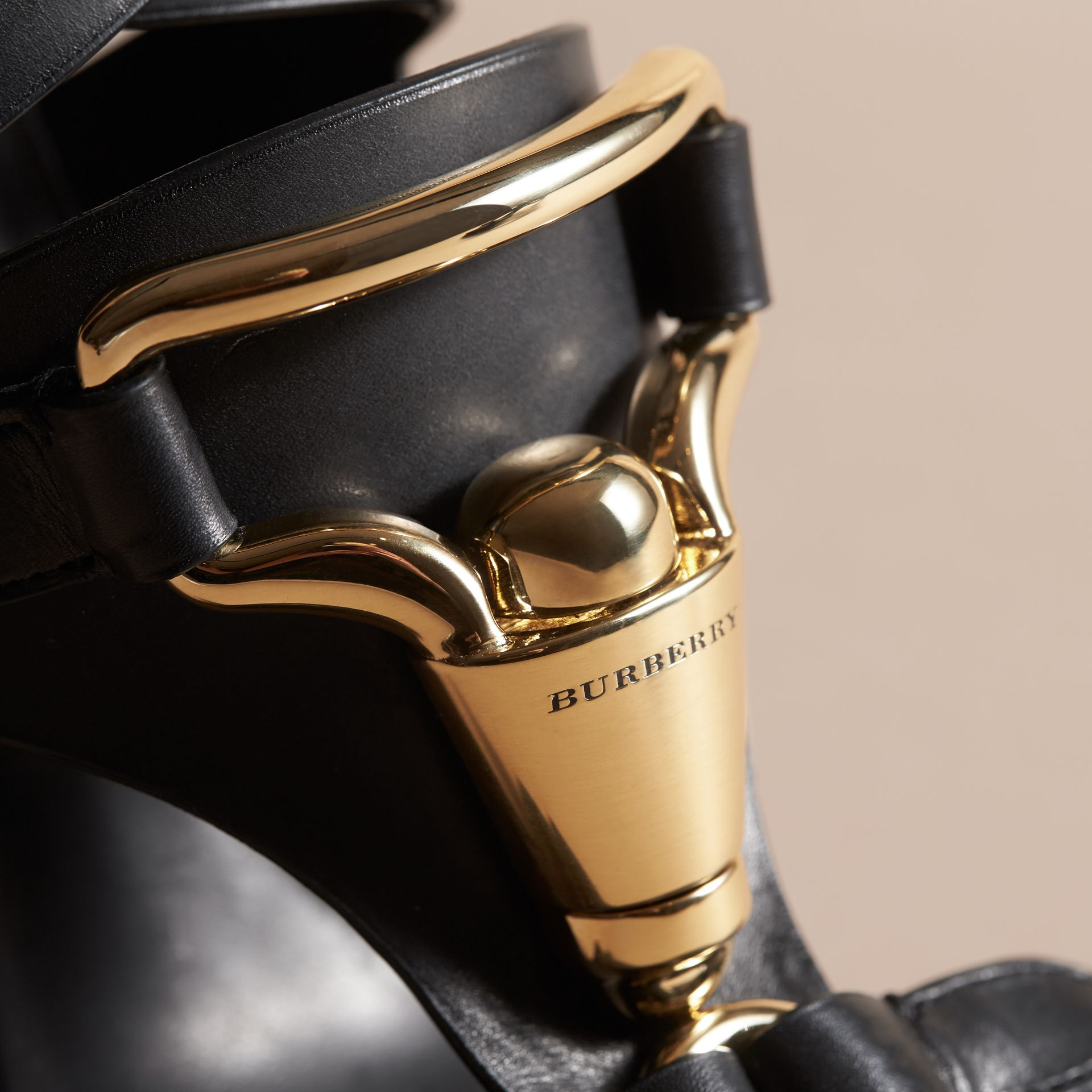 Equestrian Detail Leather High-heel Sandals in Black - Women | Burberry United Kingdom - gallery image 1