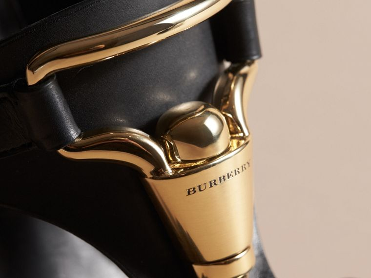 Equestrian Detail Leather High-heel Sandals in Black - Women | Burberry - cell image 1
