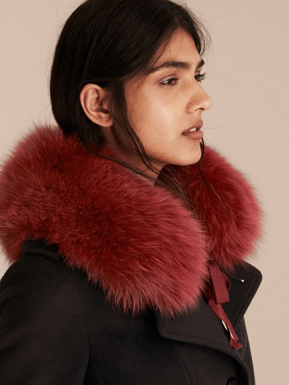 Parade red check Fox Fur Collar with Check Cashmere Lining Parade Red - cell image 2