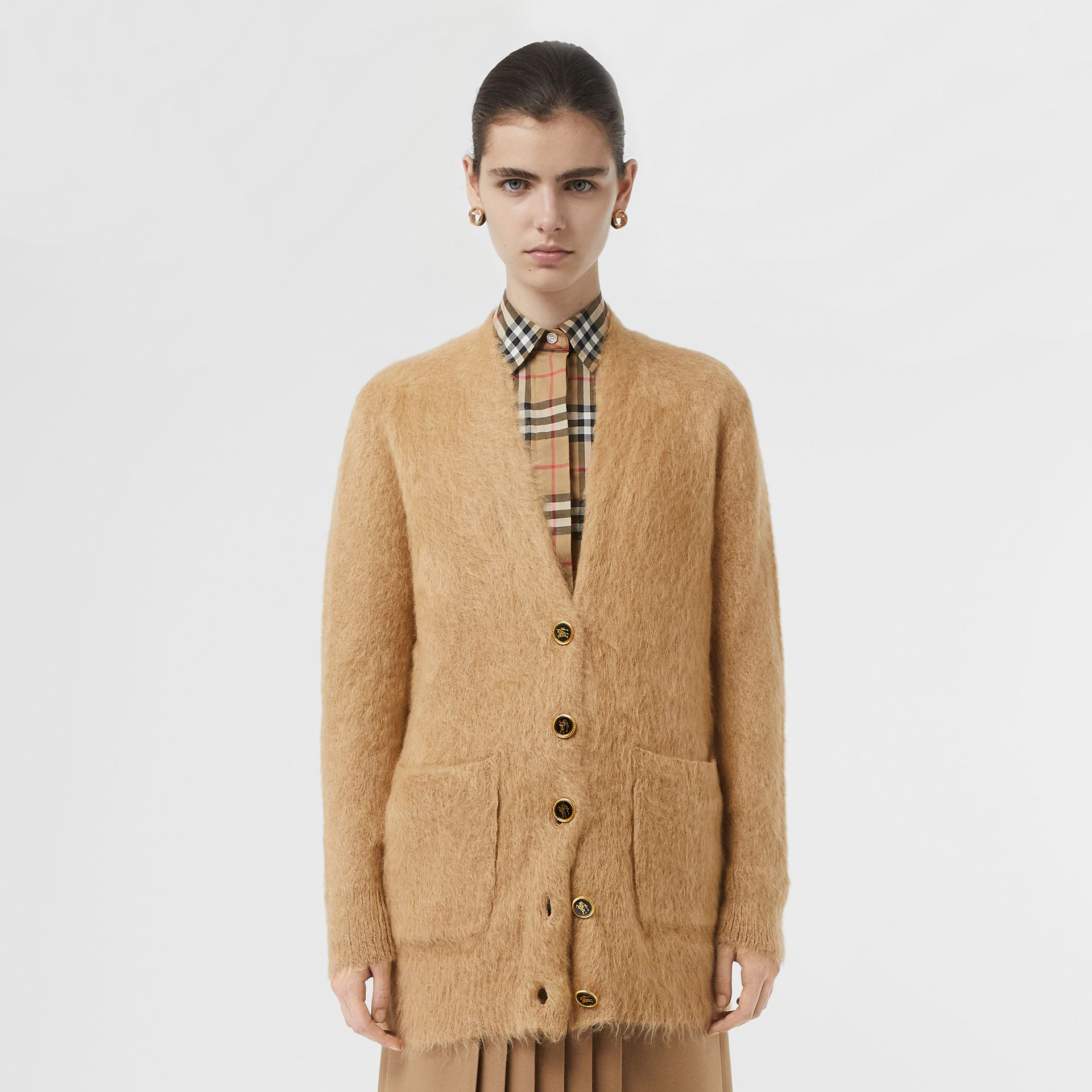 Silk Mohair Wool Blend V-neck Cardigan in Light Camel - Women | Burberry - gallery image 7