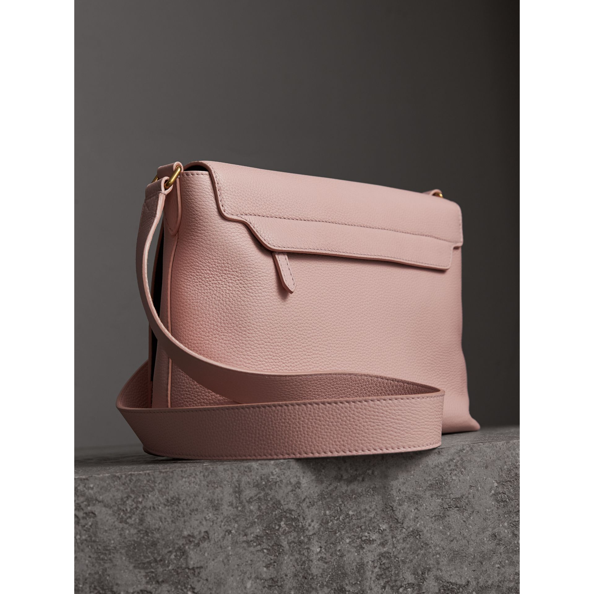 Medium Embossed Leather Messenger Bag in Pale Ash Rose - Women | Burberry - gallery image 4