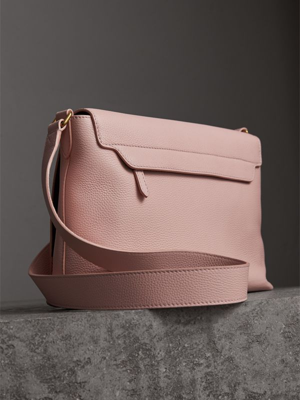 Medium Embossed Leather Messenger Bag in Pale Ash Rose | Burberry United Kingdom - cell image 3