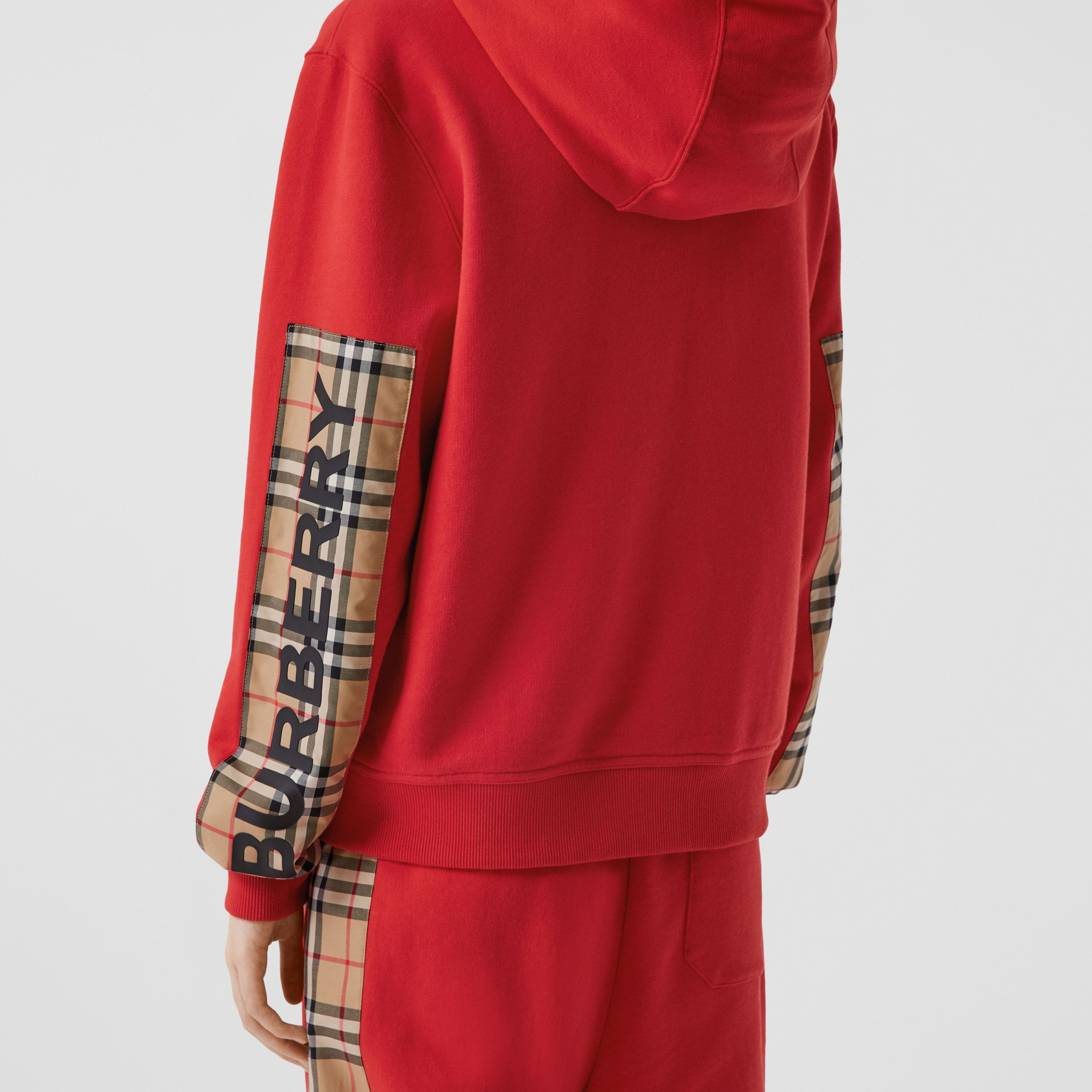 Vintage Check Panel Cotton Oversized Hooded Top in Bright Red - Women | Burberry - 2