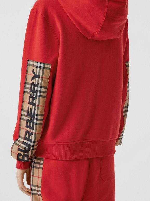 Vintage Check Panel Cotton Oversized Hooded Top in Bright Red - Women | Burberry Hong Kong S.A.R - cell image 1