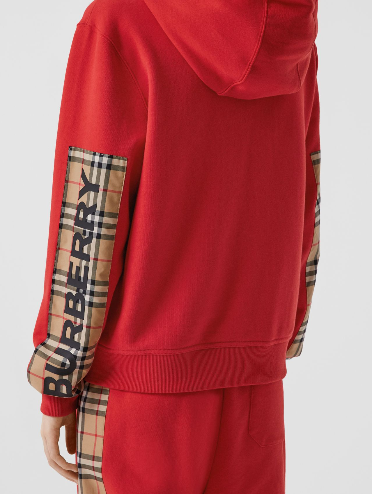 Vintage Check Panel Cotton Oversized Hooded Top in Bright Red