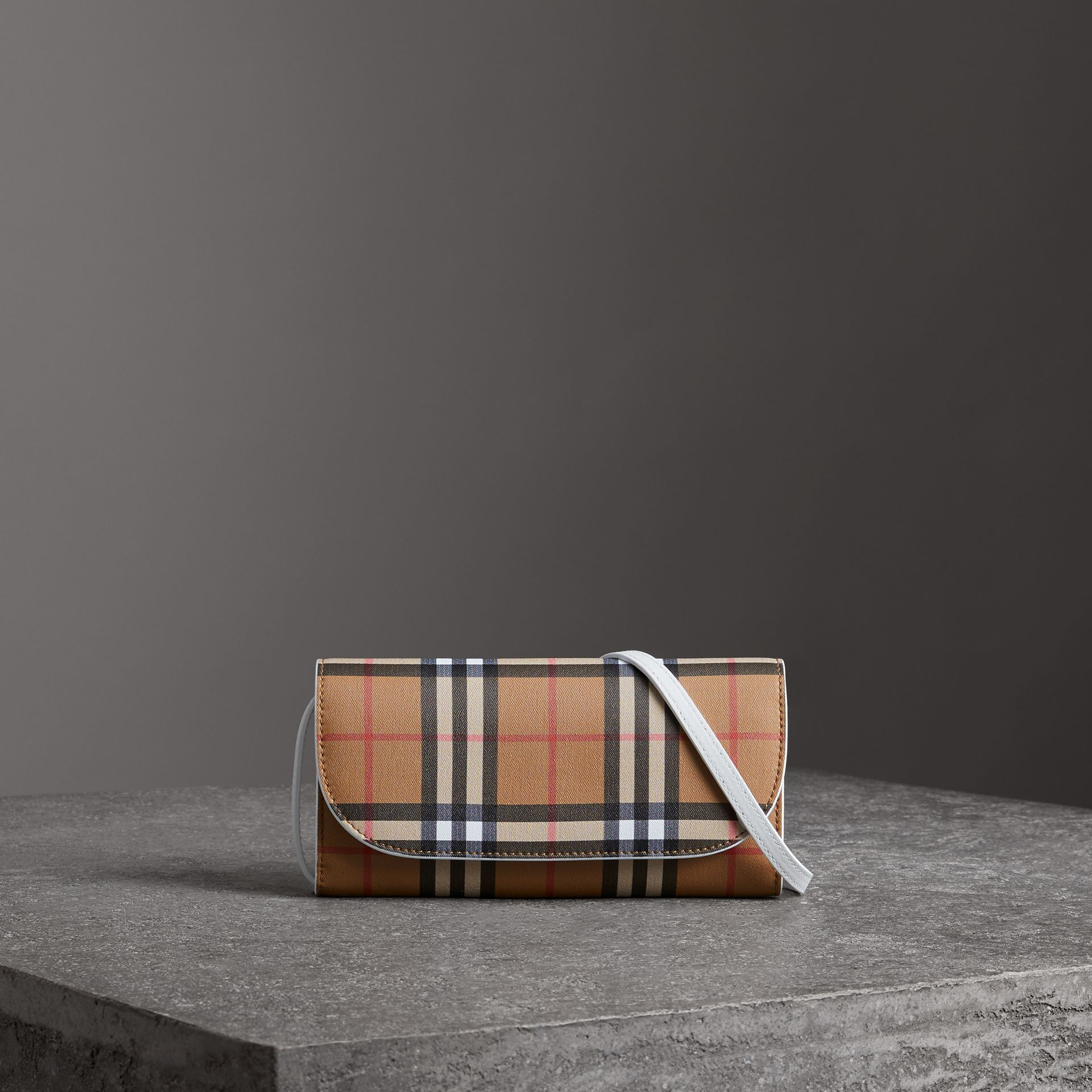 Detachable Strap Vintage Check Leather Wallet in Chalk White - Women | Burberry Canada - gallery image 0