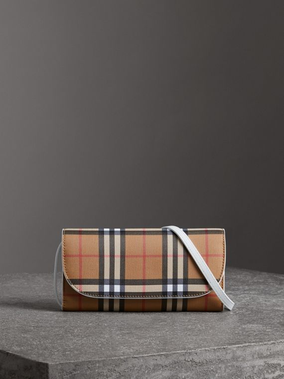 Detachable Strap Vintage Check Leather Wallet in Chalk White
