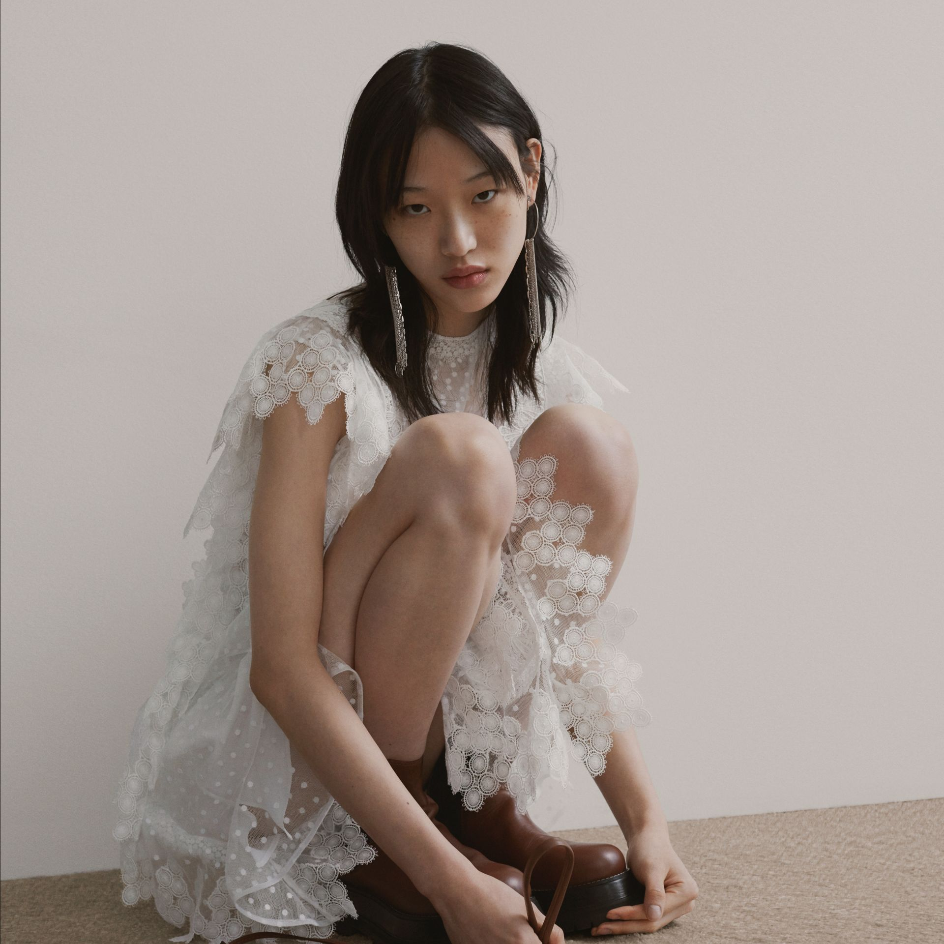 Scalloped Lace and Polka-dot Tulle Dress in White - Women | Burberry Hong Kong S.A.R - gallery image 1