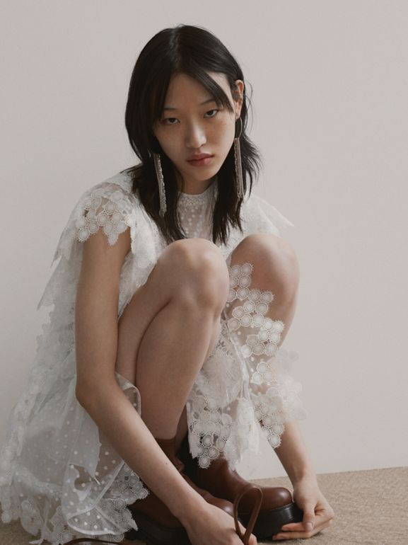 Scalloped Lace and Polka-dot Tulle Dress in White - Women | Burberry Hong Kong S.A.R - cell image 1