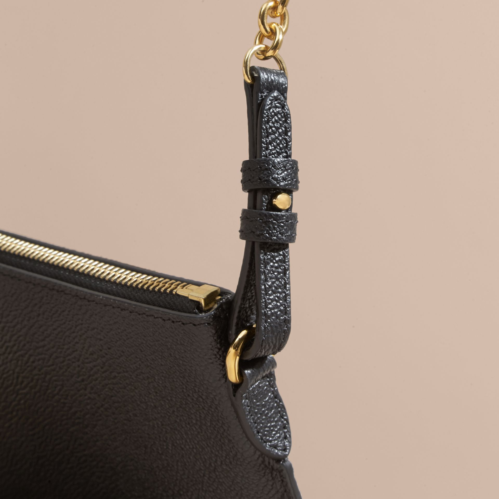 Leather Clutch Bag with Check Lining in Black - Women | Burberry - gallery image 7