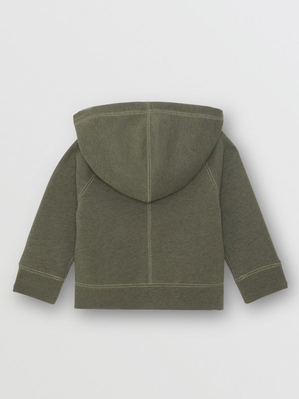Cotton Jersey Hooded Top in Olive Melange - Children | Burberry - cell image 3