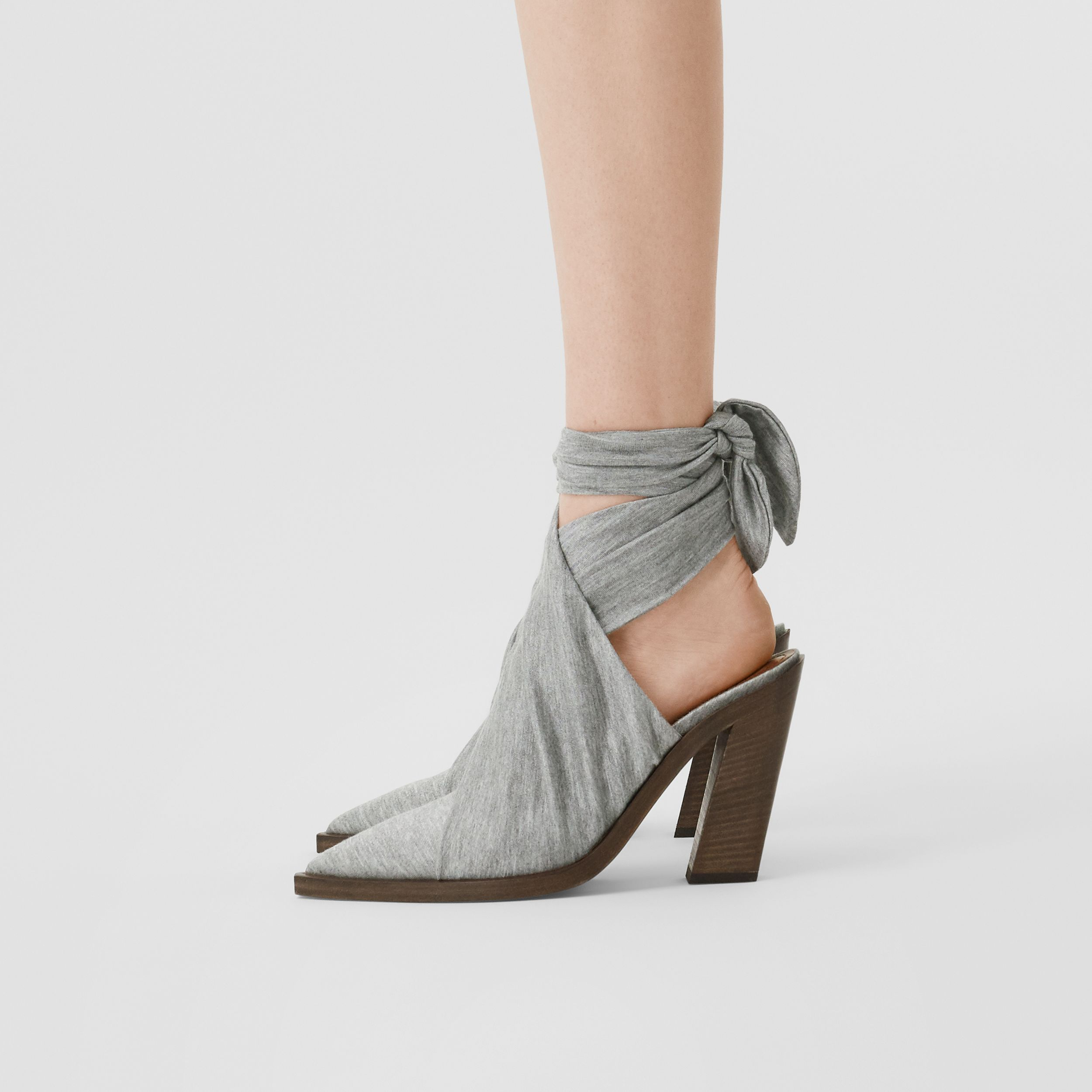 Scarf Tie Detail Jersey Point-toe Mules in Pewter Melange - Women | Burberry - 3