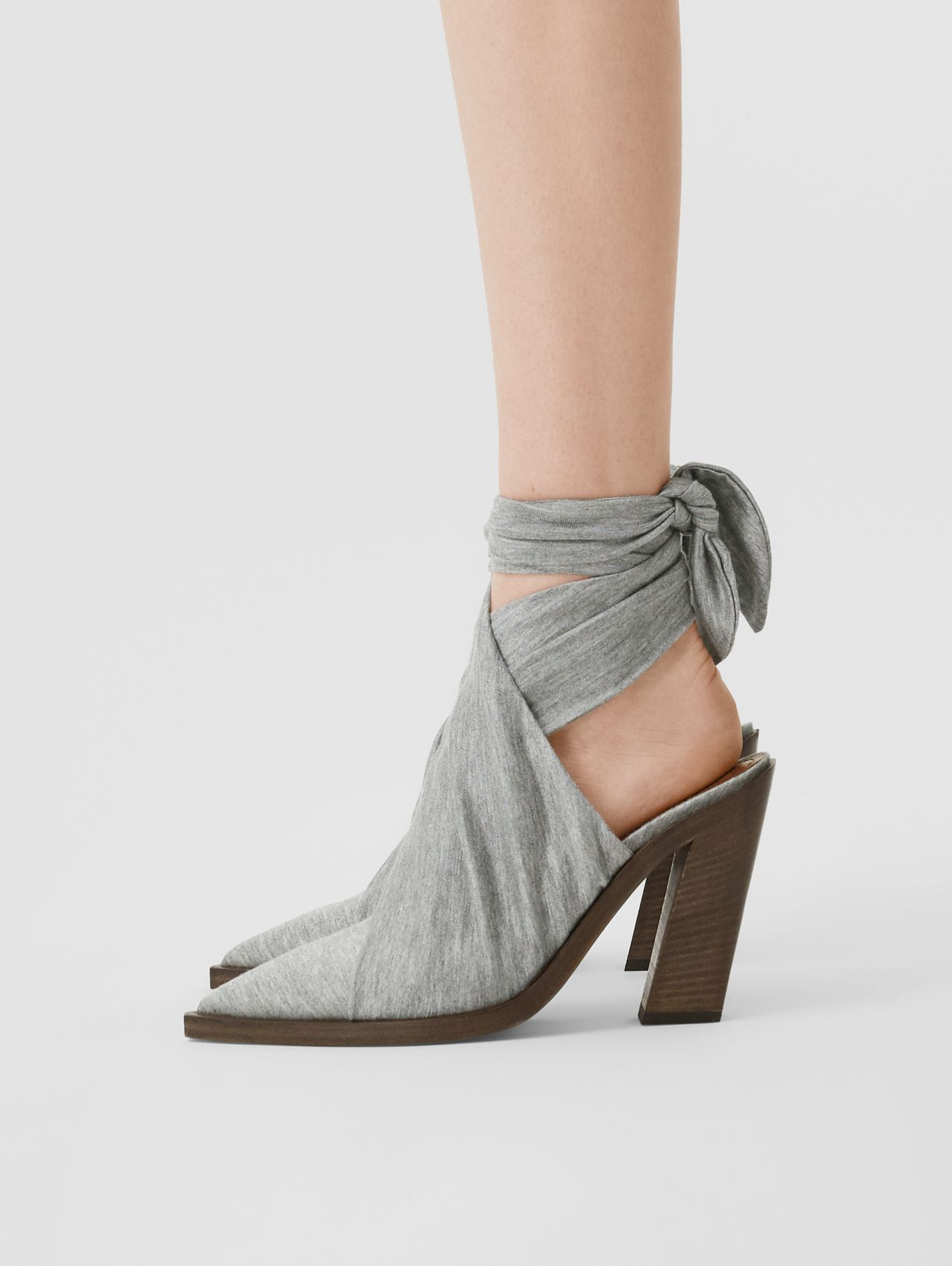 Scarf Tie Detail Jersey Point-toe Mules in Pewter Melange