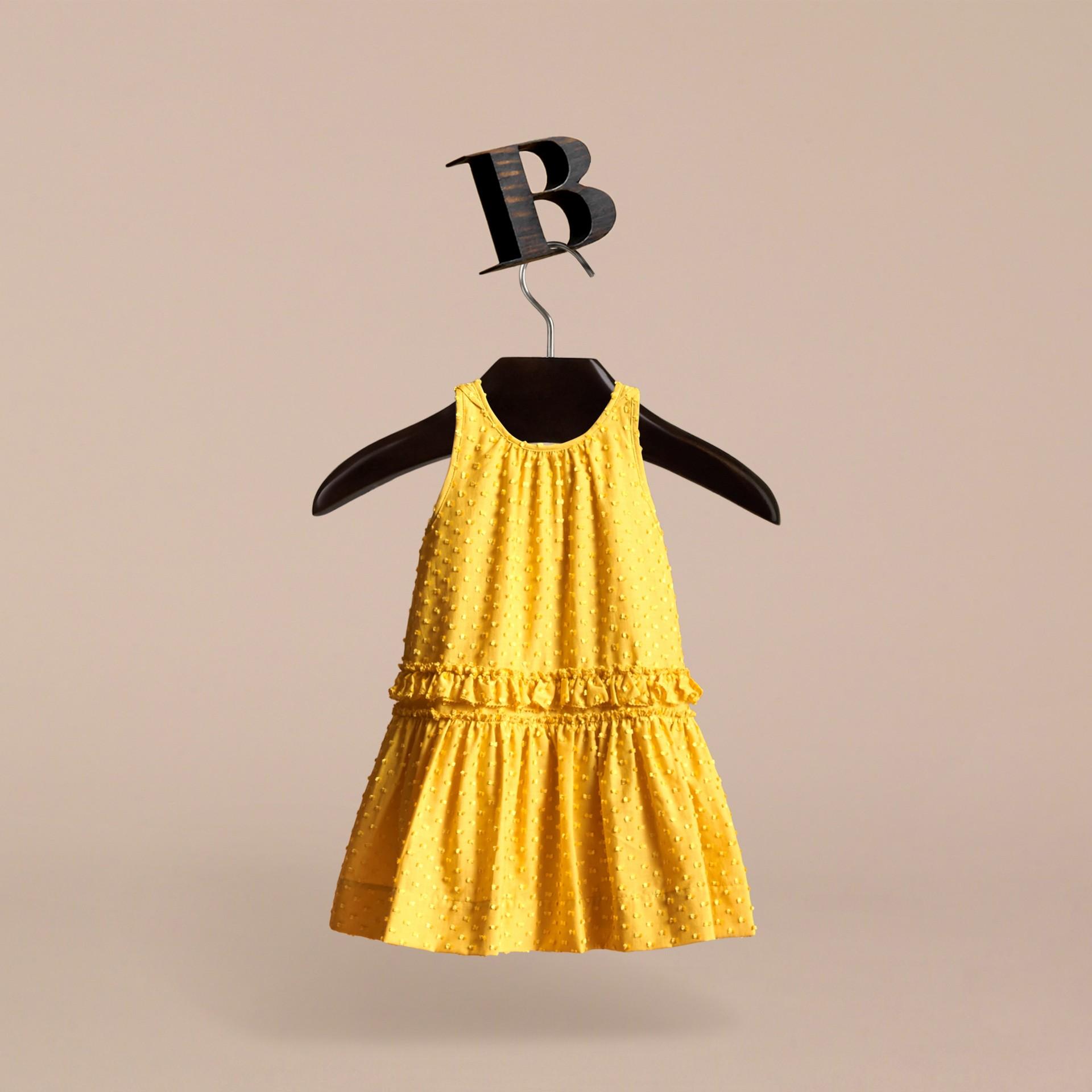 Dot Fil Coupé Cotton Silk Blend Dress - gallery image 3