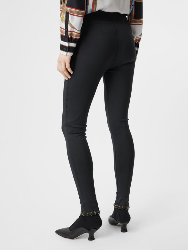 Ring-pierced Stretch Jersey Leggings in Black - Women | Burberry Singapore - cell image 2