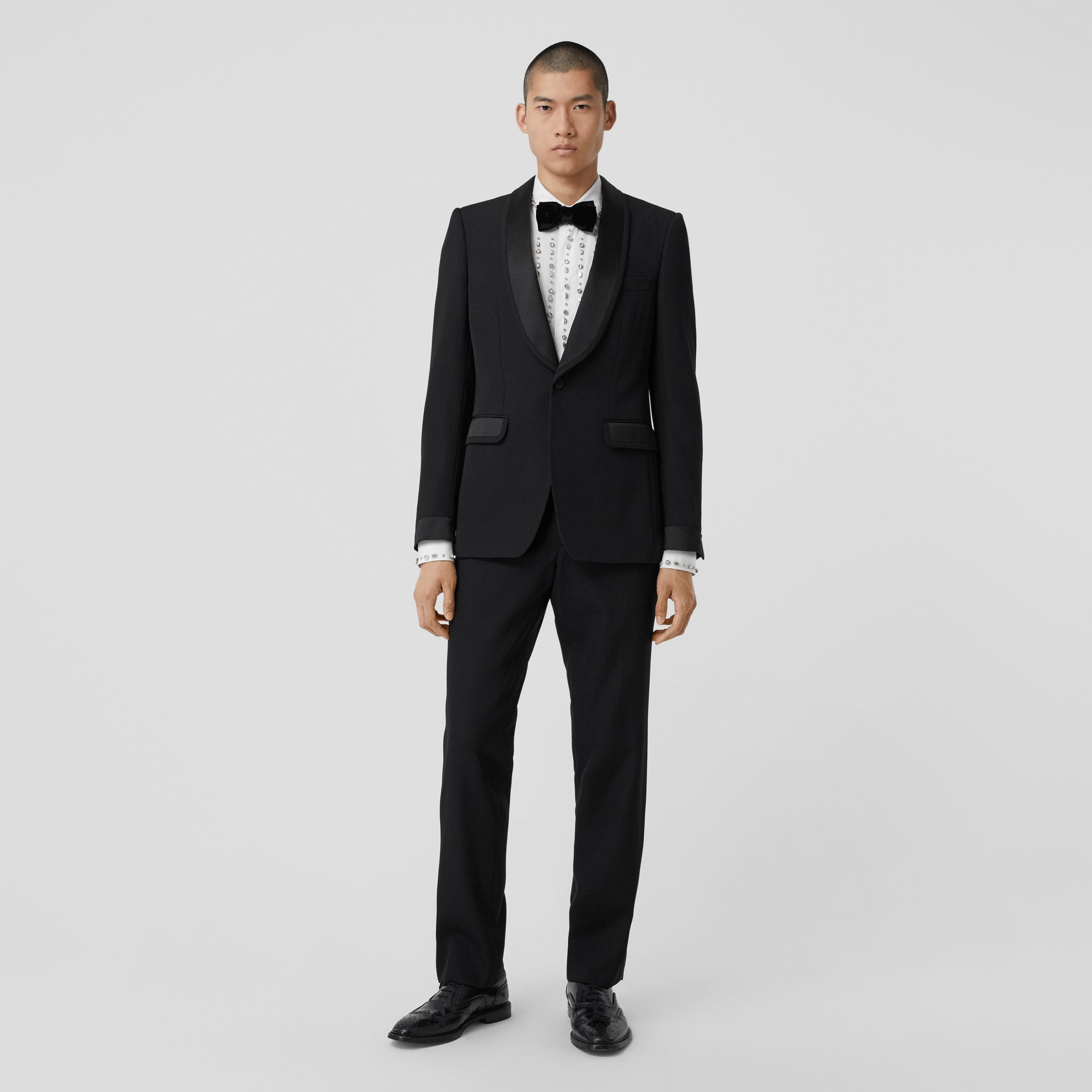 Classic Fit Silk Trim Wool Tailored Trousers in Black - Men | Burberry Canada - 1