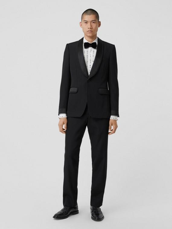 Classic Fit Silk Trim Wool Tailored Trousers in Black