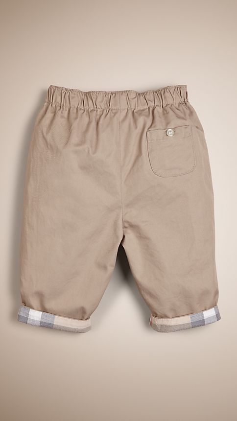 Taupe Check Turn-Up Cotton Trousers - Image 2