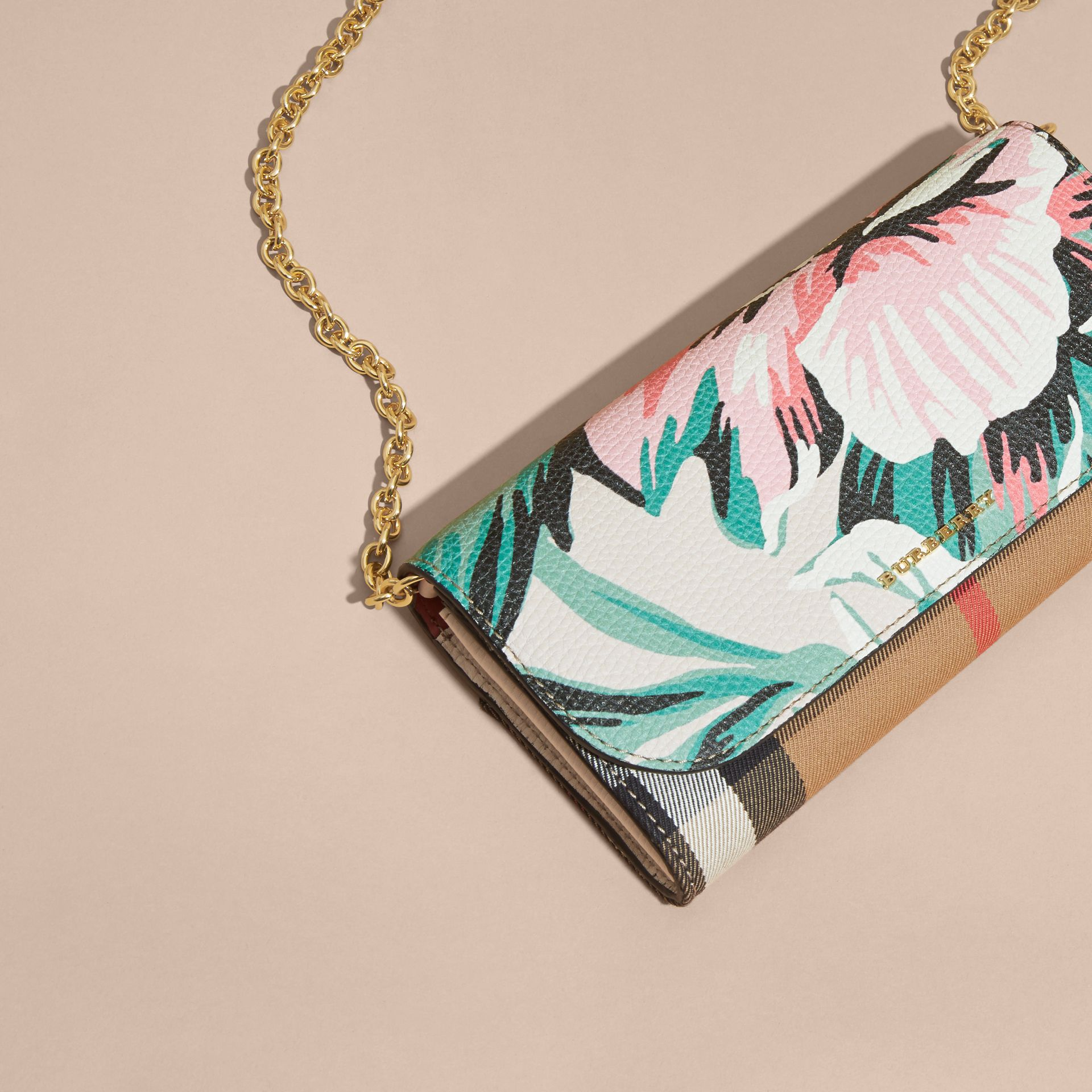 House Check and Peony Rose Print Wallet with Chain in Limestone/emerald Green - gallery image 8