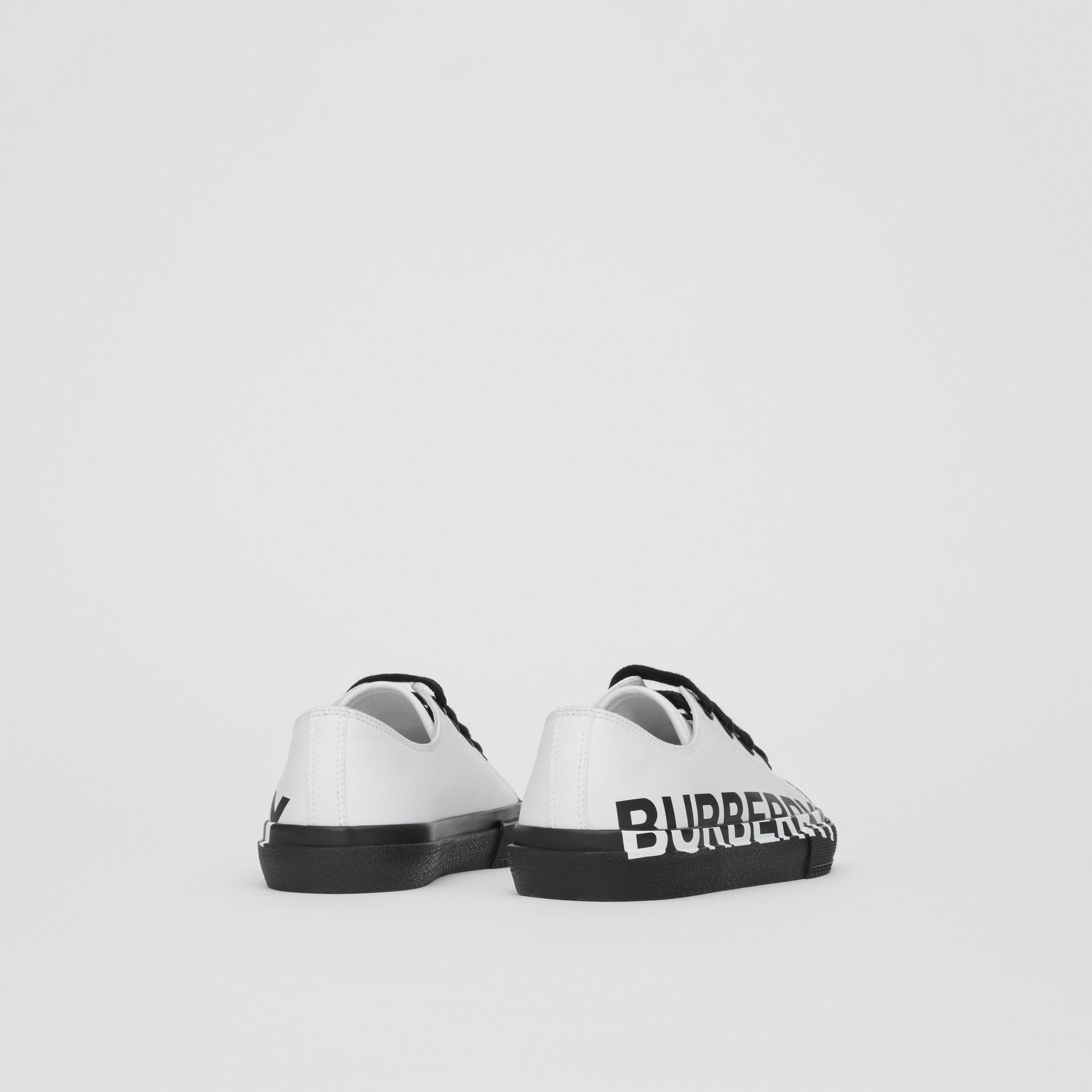 Logo Print Two-tone Cotton Gabardine Sneakers in Optic White/black - Children | Burberry United Kingdom - gallery image 2