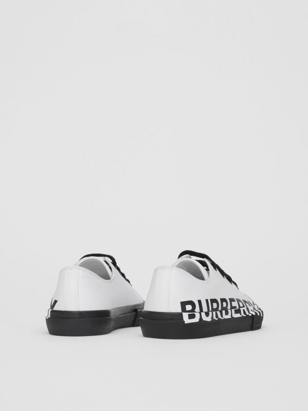Logo Print Two-tone Cotton Gabardine Sneakers in Optic White/black - Children | Burberry United Kingdom - cell image 2