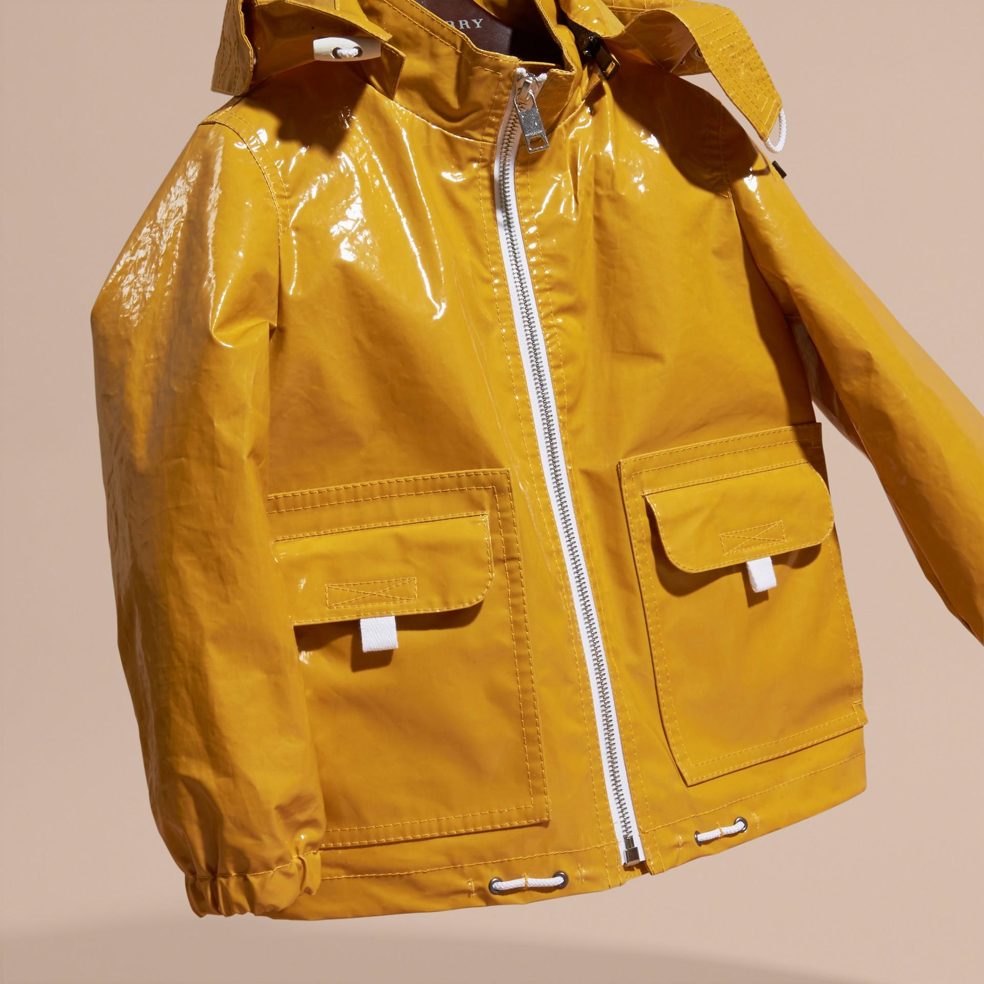 Glossy Showerproof Jacket with Detachable Hood - gallery image 3