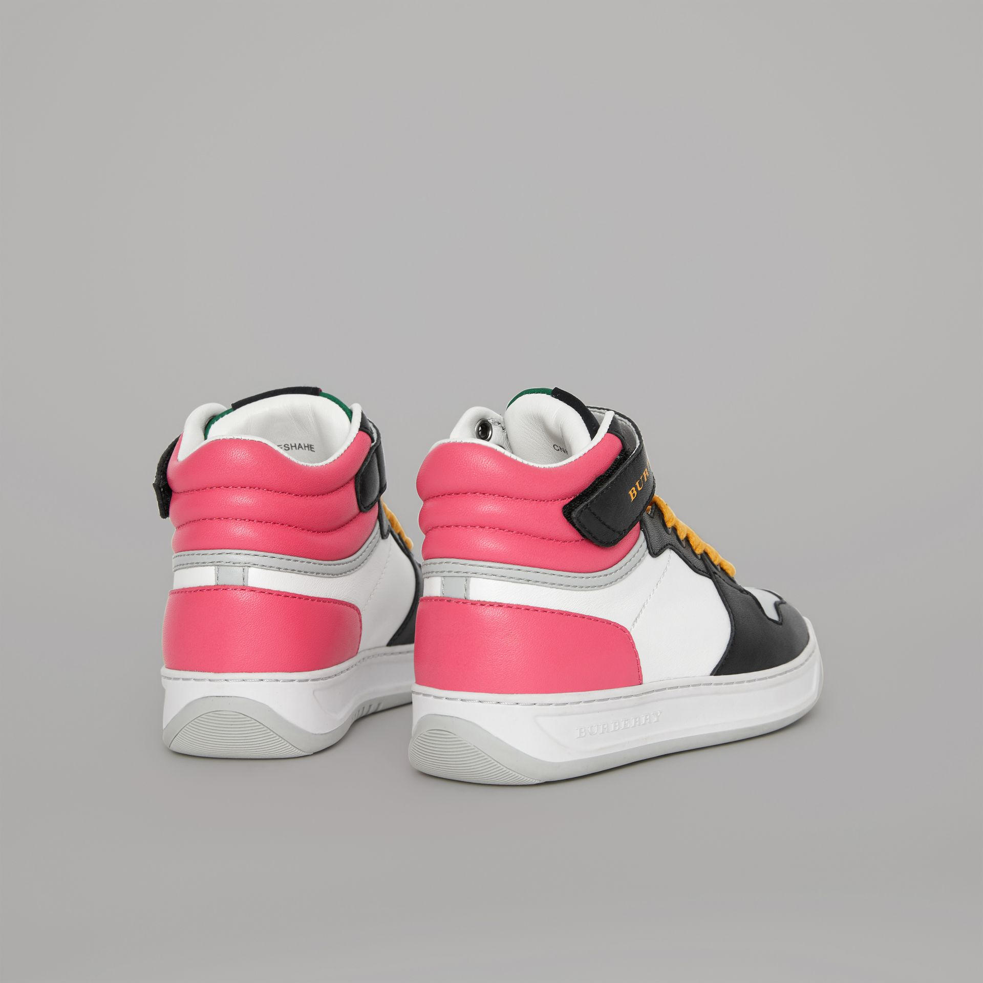 Colour Block Leather High-top Sneakers in Bright Rose - Children | Burberry - gallery image 2