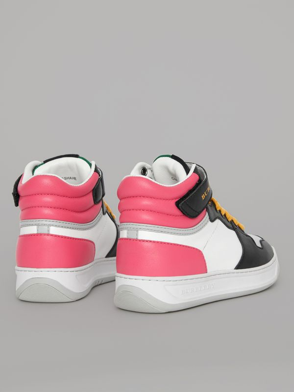 Colour Block Leather High-top Sneakers in Bright Rose - Children | Burberry - cell image 2