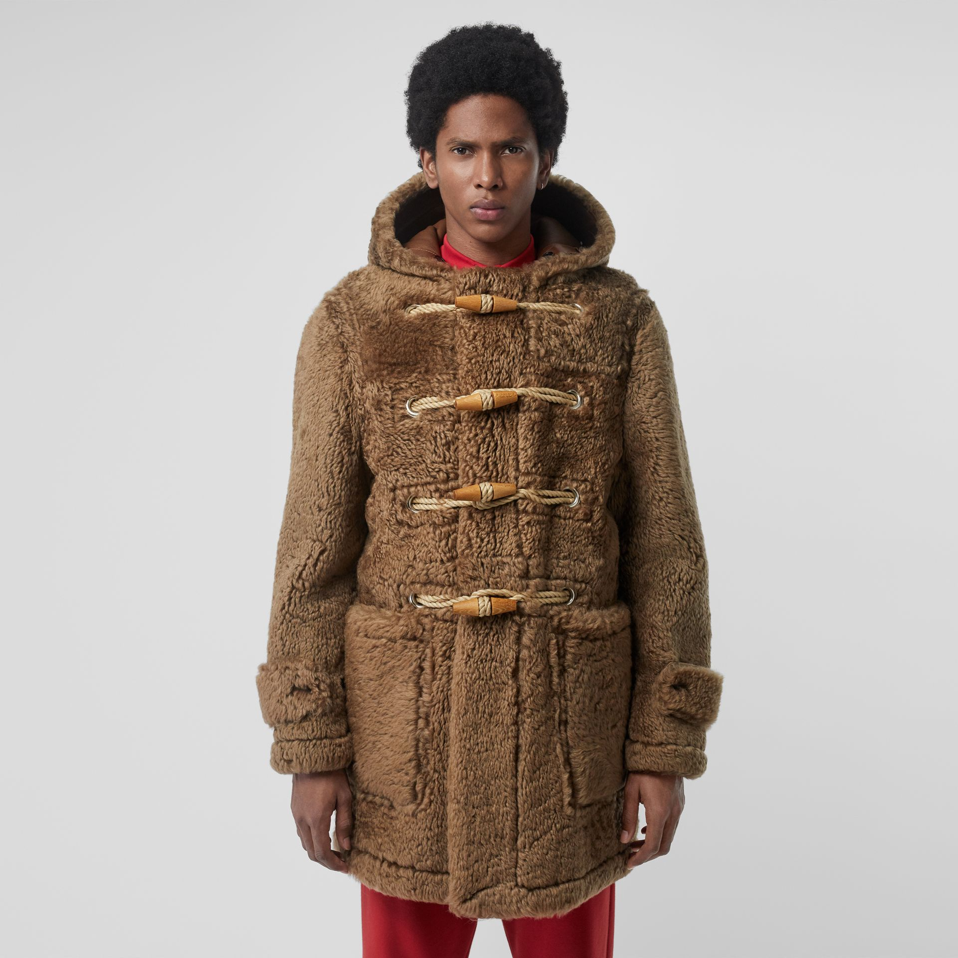 Shearling Duffle Coat in Taupe - Men | Burberry - gallery image 5