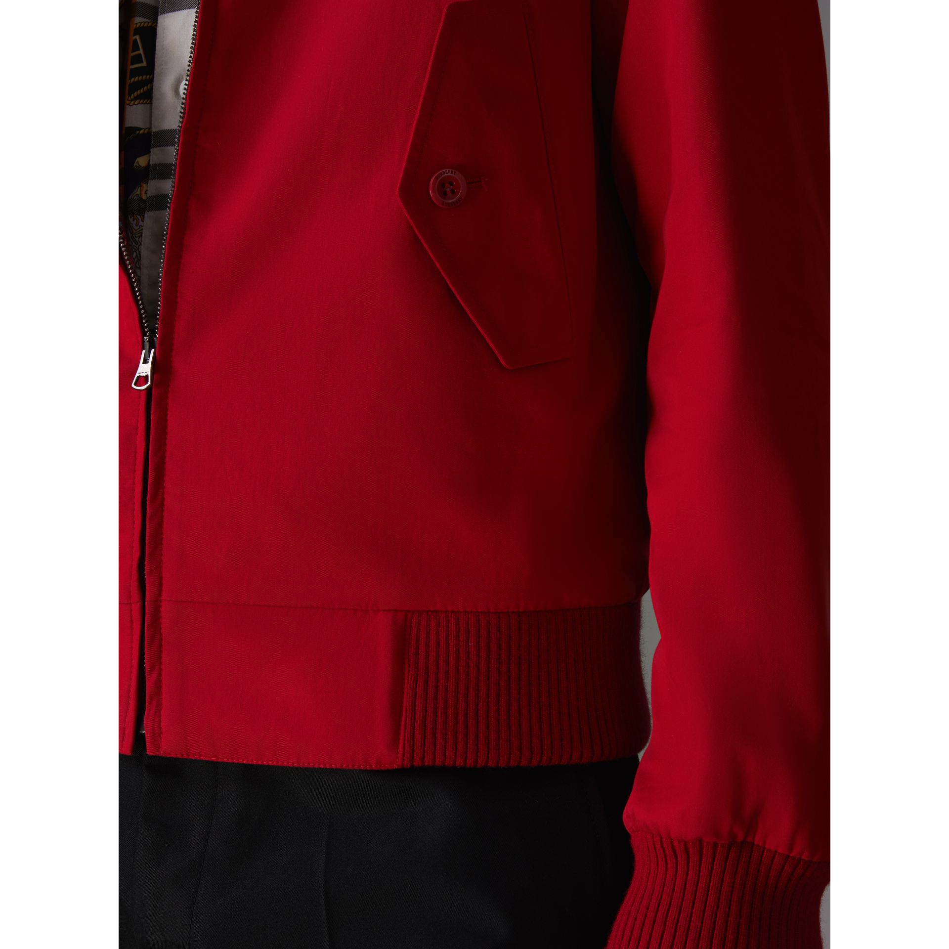 Slim Fit Tropical Gabardine Harrington Jacket in Bright Red - Men | Burberry - gallery image 4