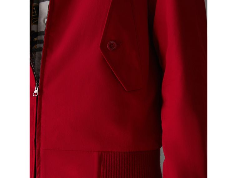 Slim Fit Tropical Gabardine Harrington Jacket in Bright Red - Men | Burberry - cell image 4