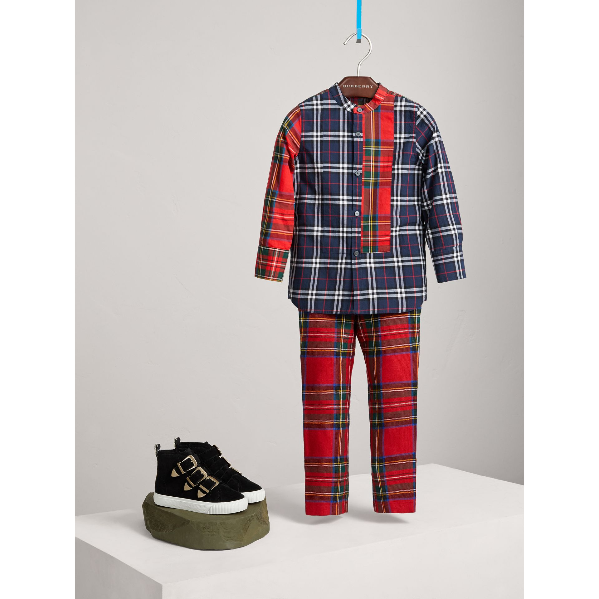 Tartan Wool Trousers in Bright Red - Boy | Burberry - gallery image 1